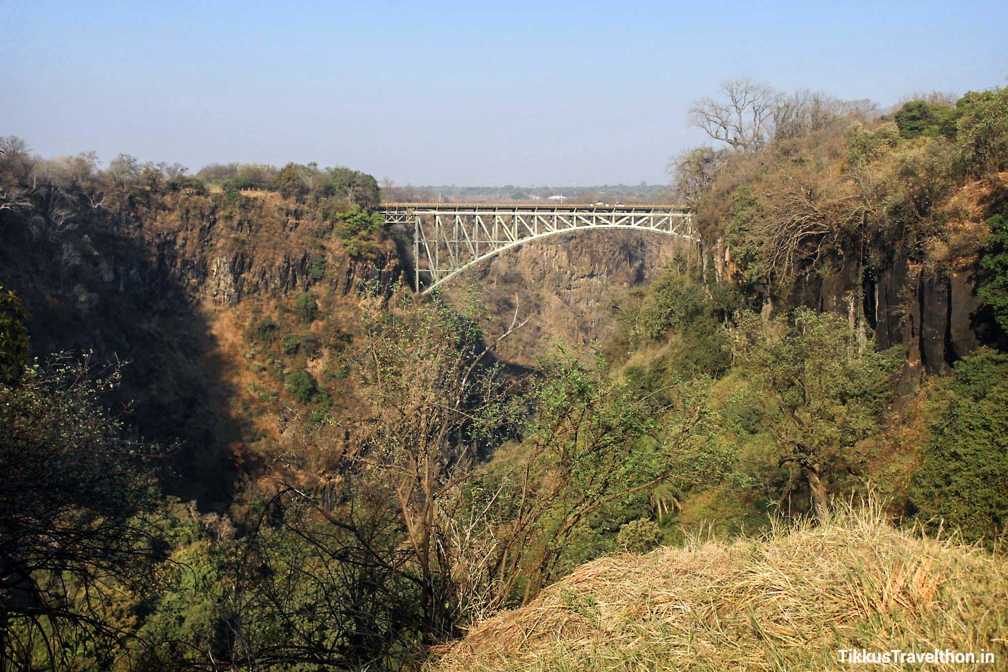 The Bridge Across the Zambezi - built in England by the Cleveland Bridge & Engineering Company, shipped to the Mozambique port of Beira and then transported to the Victoria Falls on rail. It took 14 months to construct and was completed in 1905.