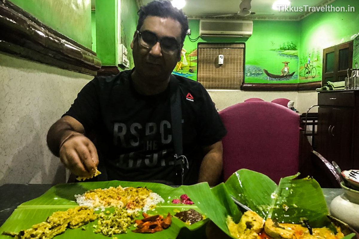 Having a 'Sadhya' meaning Banquet in Malayalam.