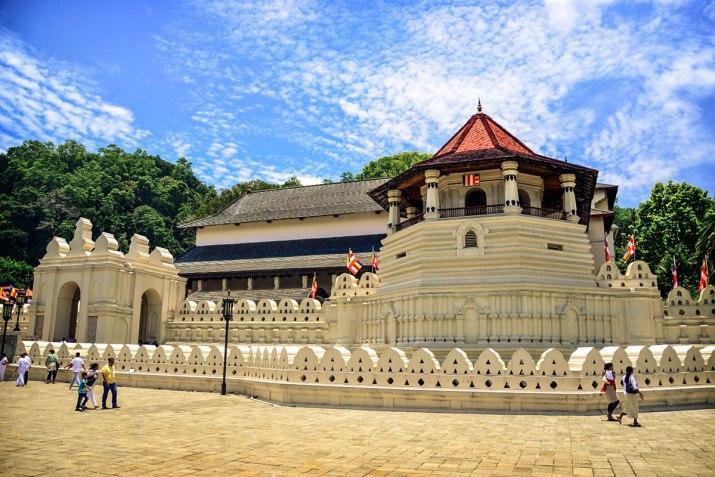 The Temple of the Tooth or Sri Dalada Maligawa in Kandi, Sri Lanka where Buddha's tooth had fallen.