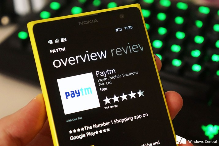 Paytm App on the Windows Store on a Nokia mobile.